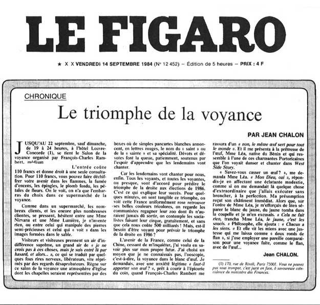 La presse parle du celebre voyant rambert for Salon de la voyance